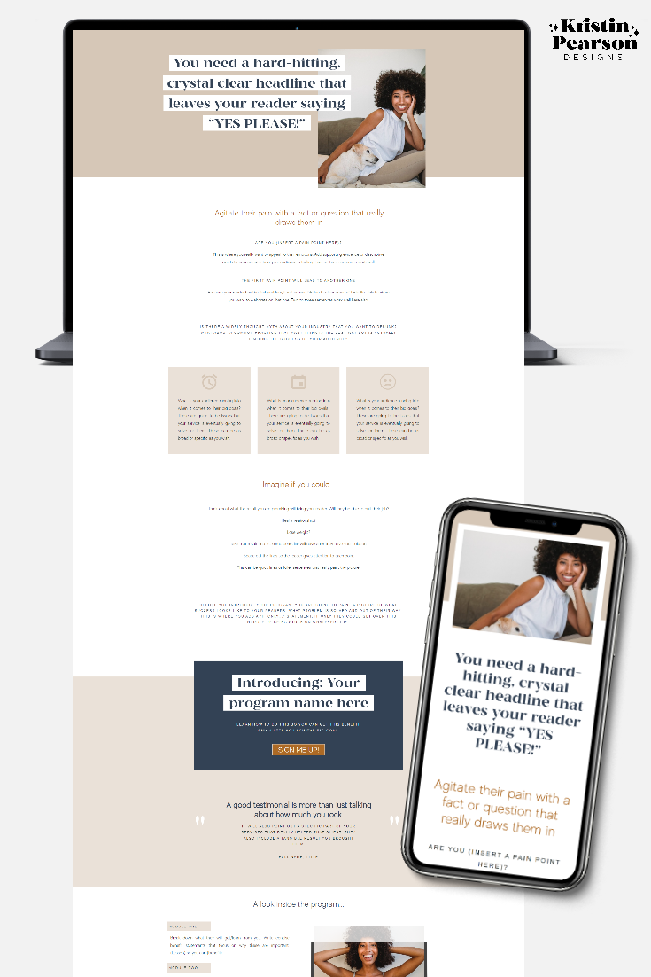example of a coaching website that is mobile responsive