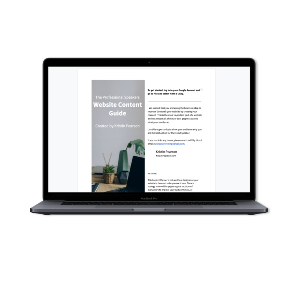 The Professional Speakers Website Content Guide that easily walks you through everything you need for a strategic website